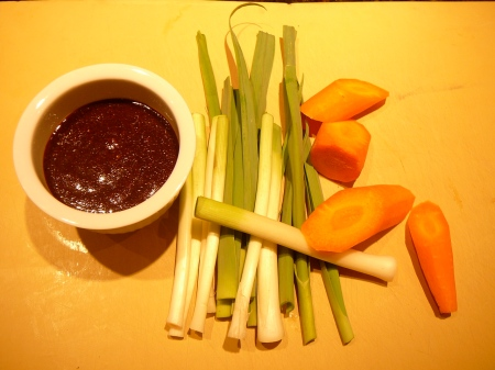 Special General Kleinman's sauce, baby leeks and carrots
