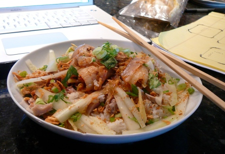 My wife's famous spicy tendon, pork, rice and kimchi bowl.  Always hits the spot